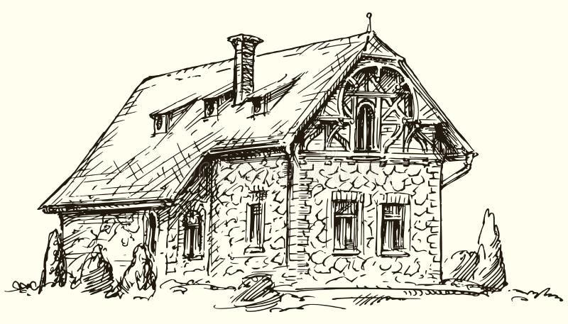 Oud Engels traditioneel steenhuis stock foto's