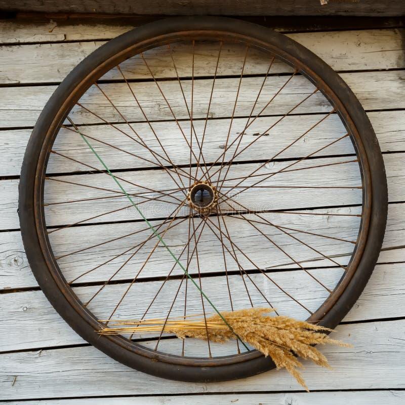 Oud fietswiel royalty-vrije stock afbeeldingen