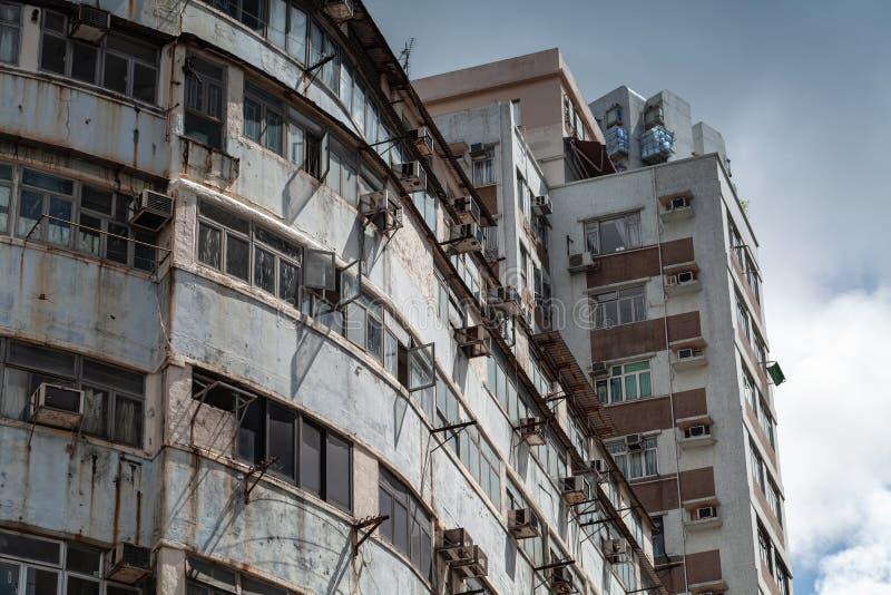 Oud flatgebouw van Hong Kong stock foto