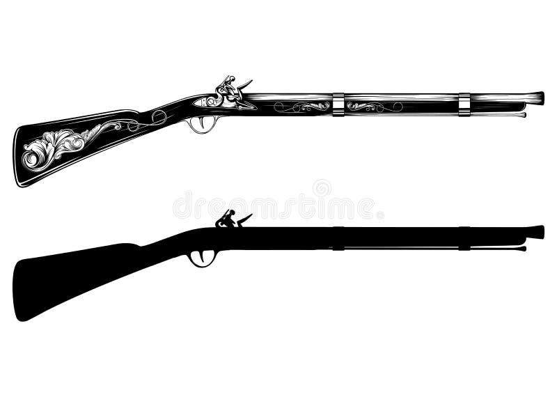 Oud flintlock geweer stock illustratie