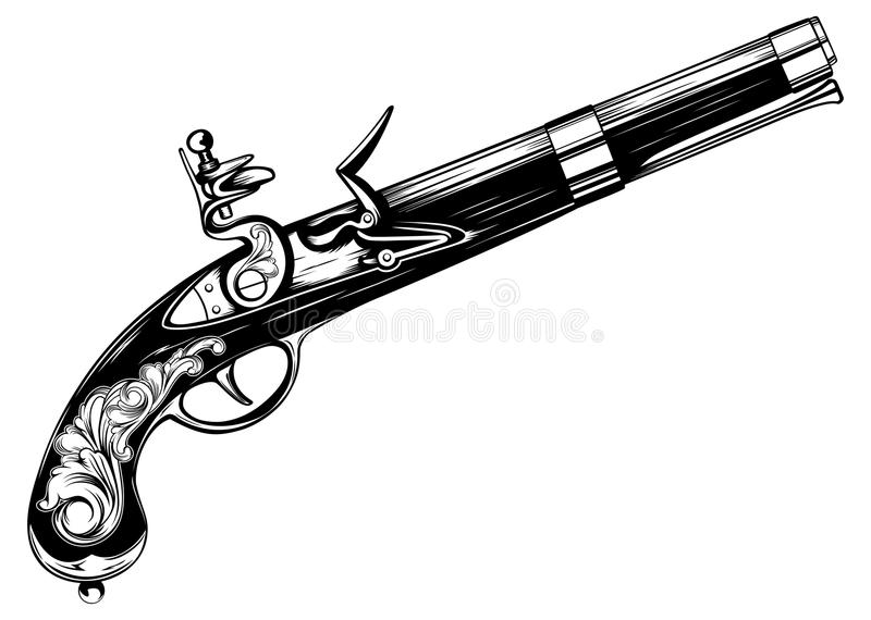 Oud flintlock pistool stock illustratie