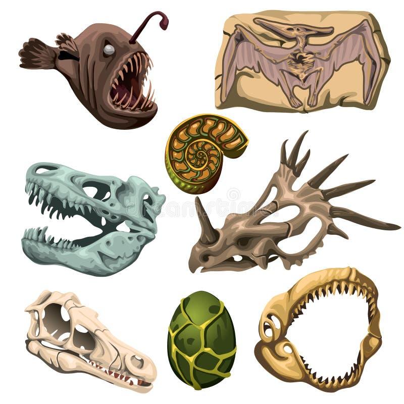 Oud fossiel dieren, vissen en ei stock illustratie