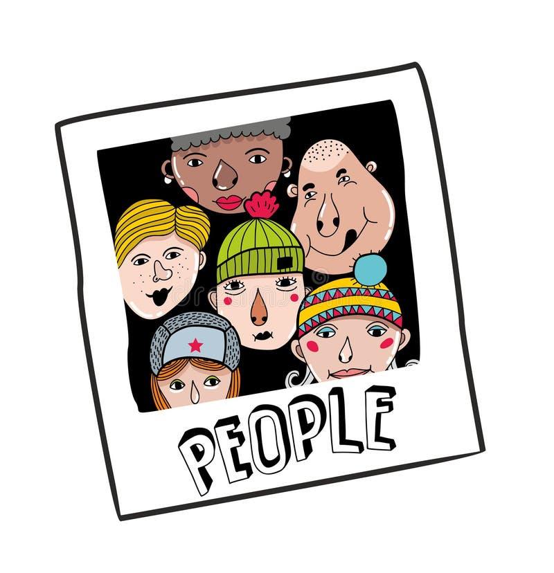 Oud fotoportret van de groep mensen vector illustratie