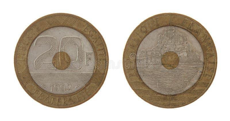 Oud Frans Muntstuk dat op Wit wordt geïsoleerd stock afbeeldingen