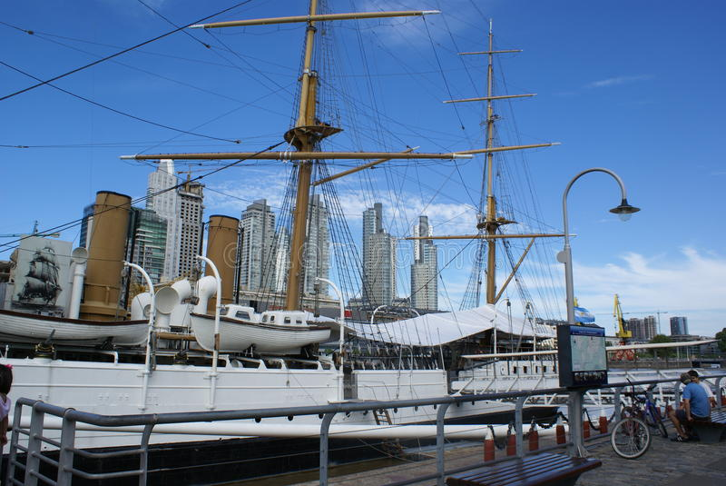 Oud Fregat in Puerto Madero royalty-vrije stock foto's