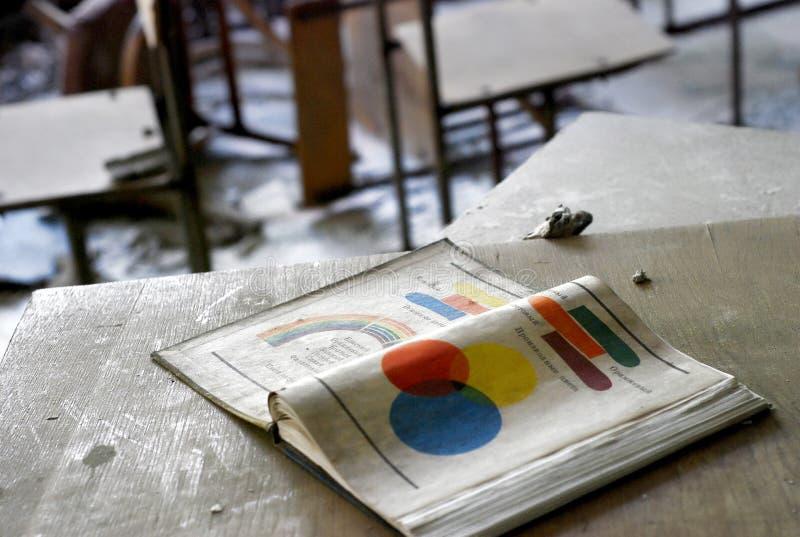 Oud fysicaboek op bureau royalty-vrije stock afbeeldingen