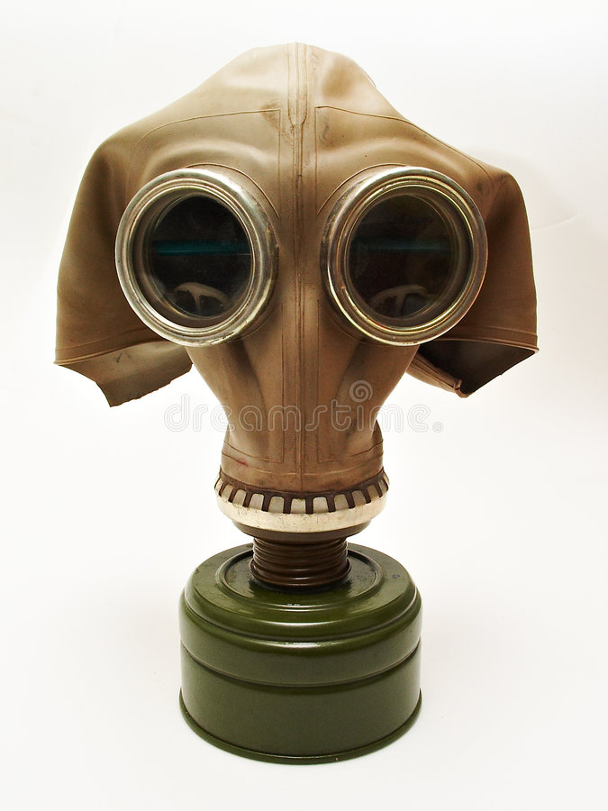 Oud gas-masker stock foto's