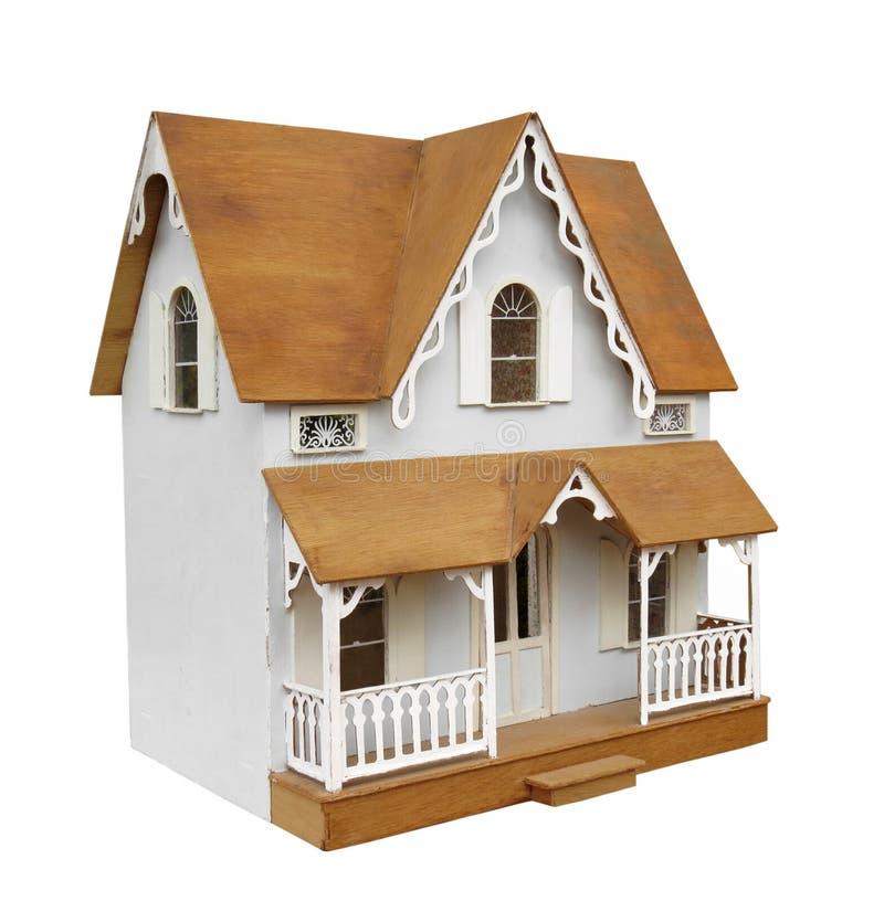 Oud geïsoleerd poppenhuis stock foto's