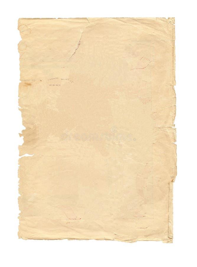 Oud geïsoleerdt stuk van document stock foto's