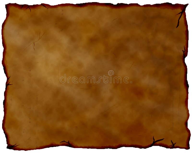 Oud gebrand document. stock illustratie