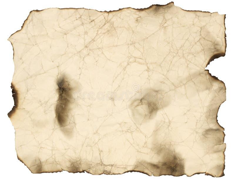Oud gebrand document blad royalty-vrije illustratie
