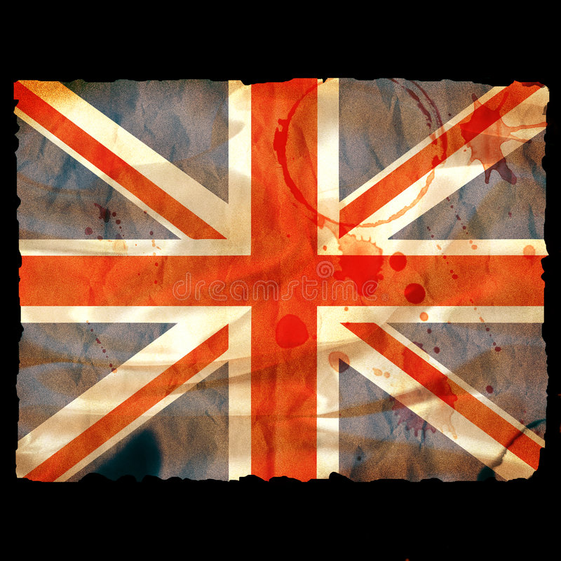 Oud gebrand document Union Jack - stock illustratie