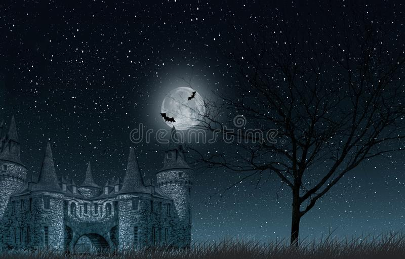 Oud geheimzinnig kasteel met volle maan en knuppels, oude boom en sterrige hemelclose-up royalty-vrije stock afbeelding