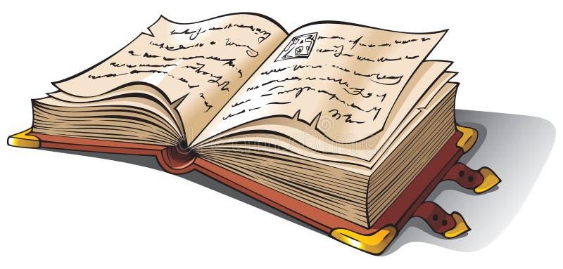 Oud geopend boek stock illustratie