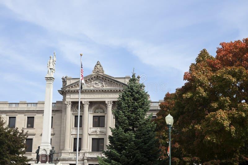 Oud gerechtsgebouw in het centrum van Sycomoor royalty-vrije stock foto's