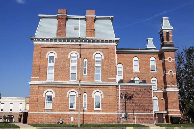 Oud gerechtsgebouw in Hillsboro, Montgomery County royalty-vrije stock foto
