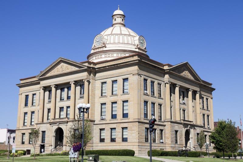 Oud gerechtsgebouw in Lincoln, Logan County stock foto's