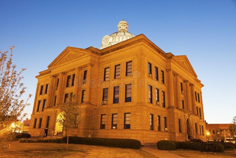 Oud gerechtsgebouw in Lincoln, Logan County royalty-vrije stock afbeelding