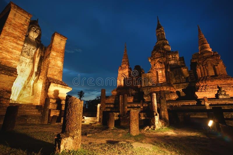 Oud geruïneerd Wat Mahathat in Sukhothai-Provincie, Thailand stock afbeeldingen