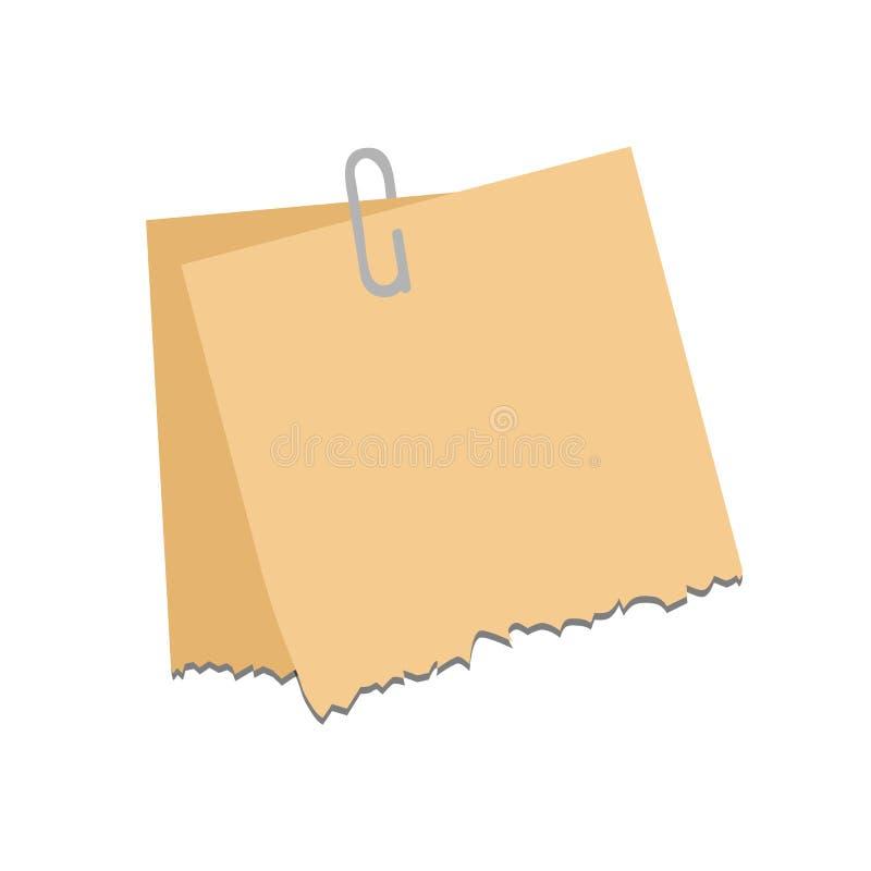 Oud gescheurd document met haveloze rand Uitstekende notadocumenten vectorillustratie stock illustratie