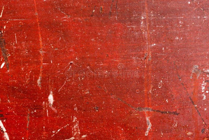 Oud geschilderd hout met afgebroken rode verf De stijlachtergrond van Grunge stock foto