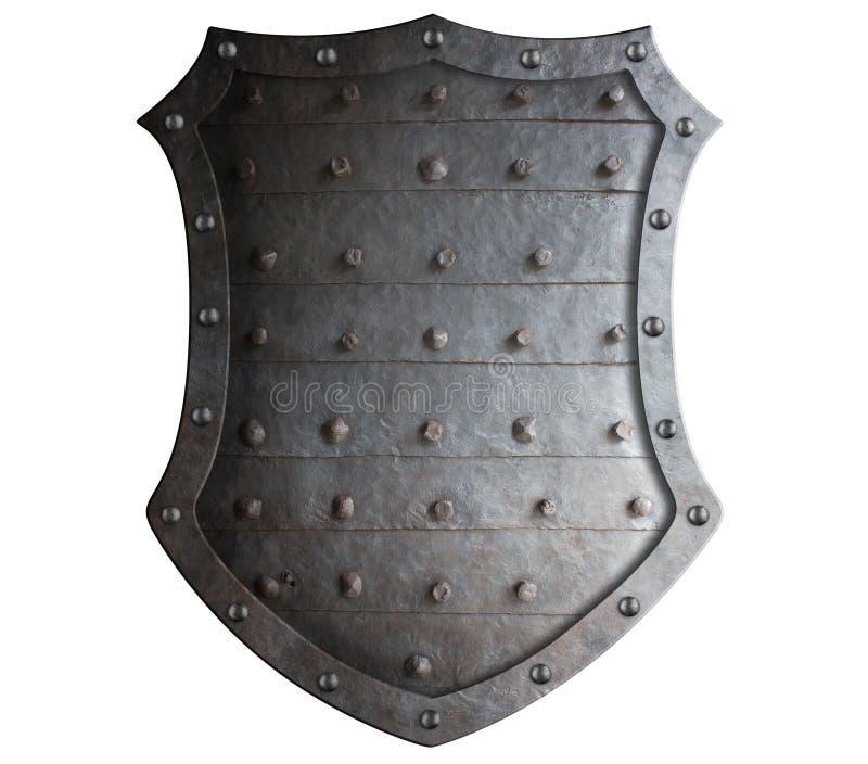 Oud gesmeed middeleeuws schild met ruwe aren stock foto's