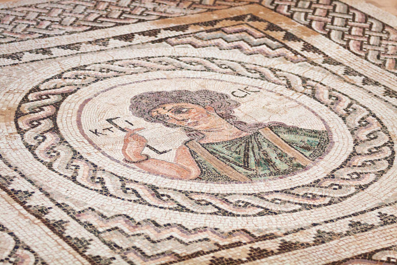Oud godsdienstig mozaïek in Kourion, Cyprus royalty-vrije stock afbeelding