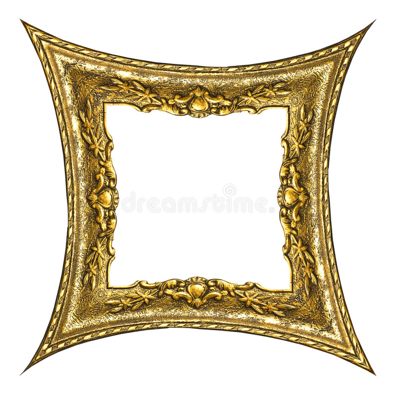Oud Gouden Frame - Rechthoek stock fotografie