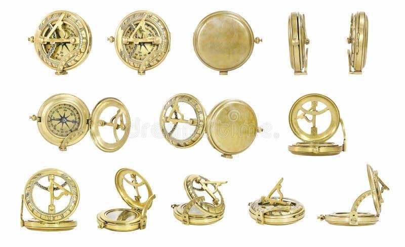 Oud gouden kompas royalty-vrije stock foto's