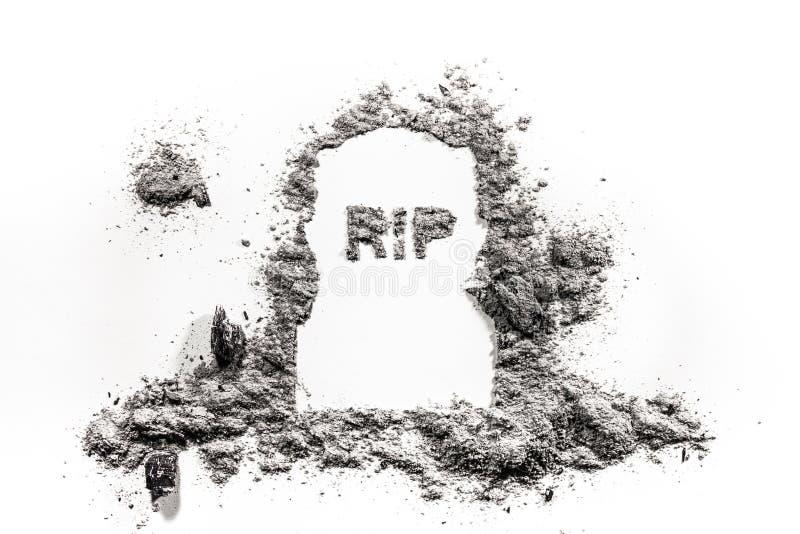 Oud grafsteen ernstig monument en rust in de tekening van het vredeswoord stock fotografie