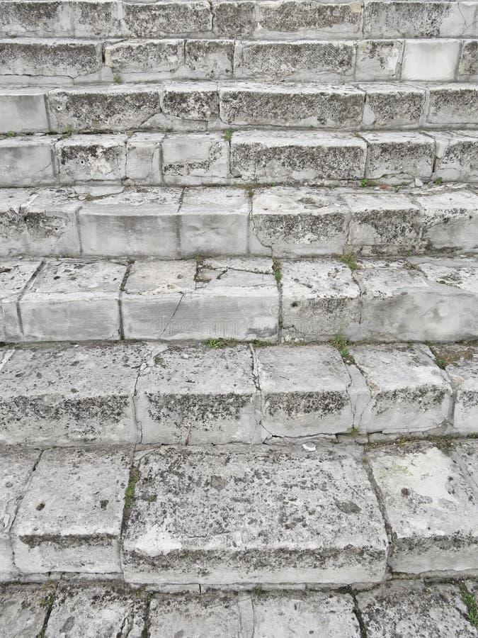 Oud Gray Staircase Trap van Oud Gray Bricks, Uitstekende Stairc royalty-vrije stock afbeeldingen