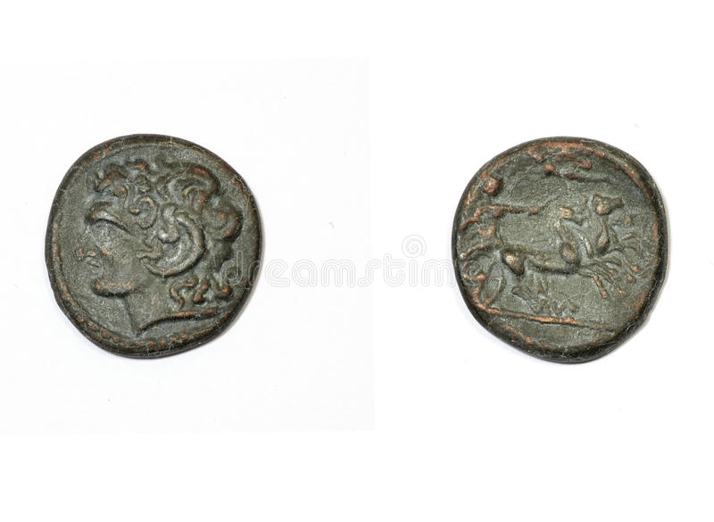 Oud Grieks muntstuk stock foto's
