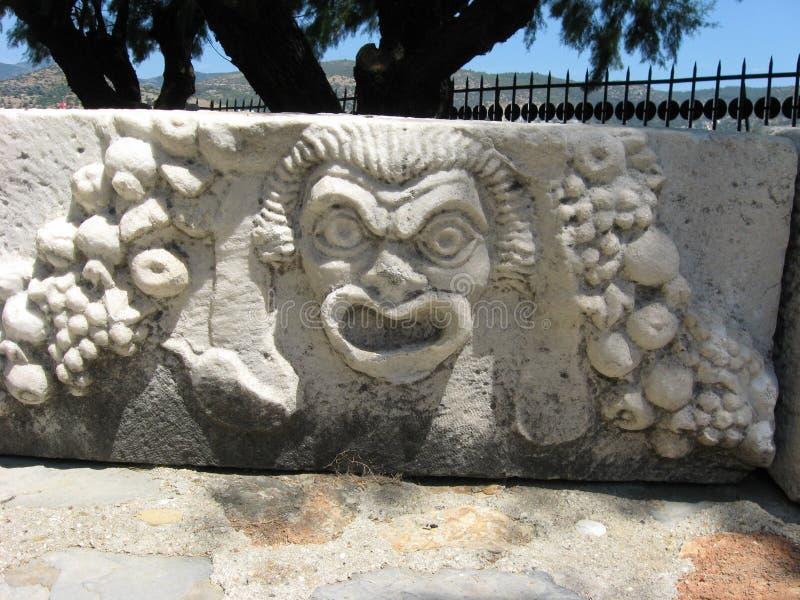 Oud Grieks theatermasker royalty-vrije stock foto's