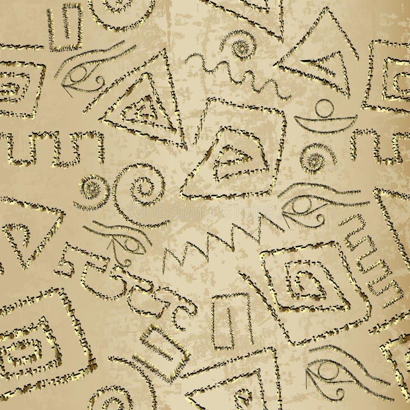 Oud grunge 3d Grieks vector naadloos patroon Siertrib vector illustratie