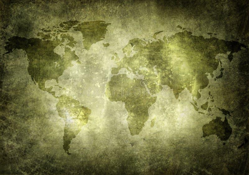 Oud, grunge wereldkaart vector illustratie