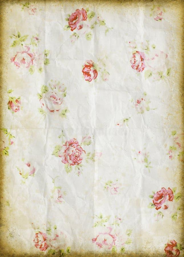 Oud grungedocument, bloempatroon stock illustratie
