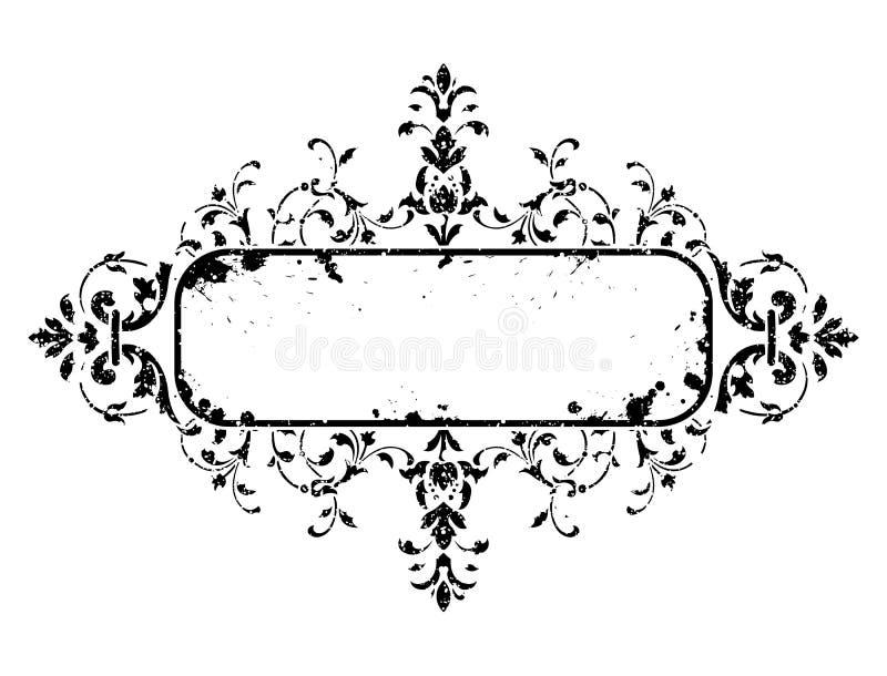 Oud grungeframe met bloemendecoratie, vectorillustratie vector illustratie