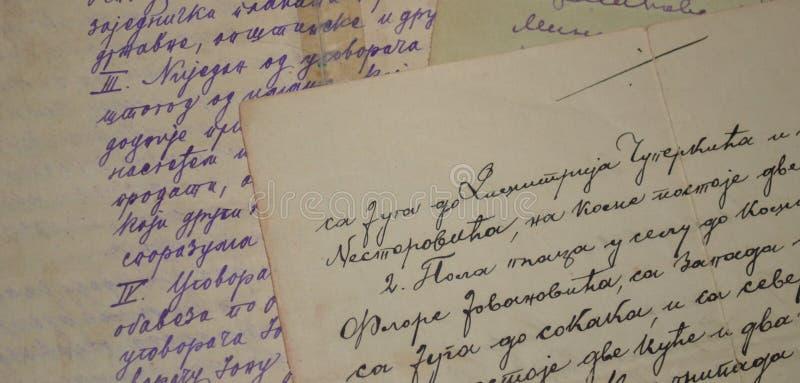 Oud handschrift stock afbeeldingen