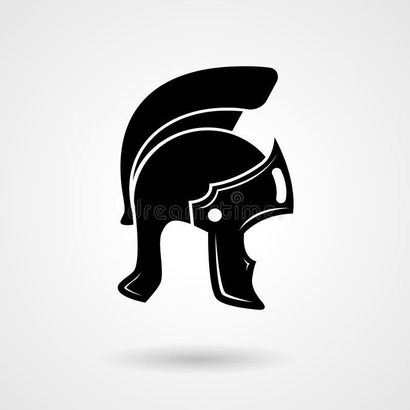 Oud het pictogramembleem van de legionairhelm vector illustratie