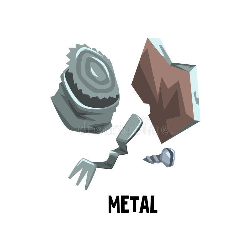 Oud het tinblik van het metaalafval, gebogen vork, schroef Afval sorterend thema Huisvuil recycling Vlak vectorontwerp voor infog stock illustratie