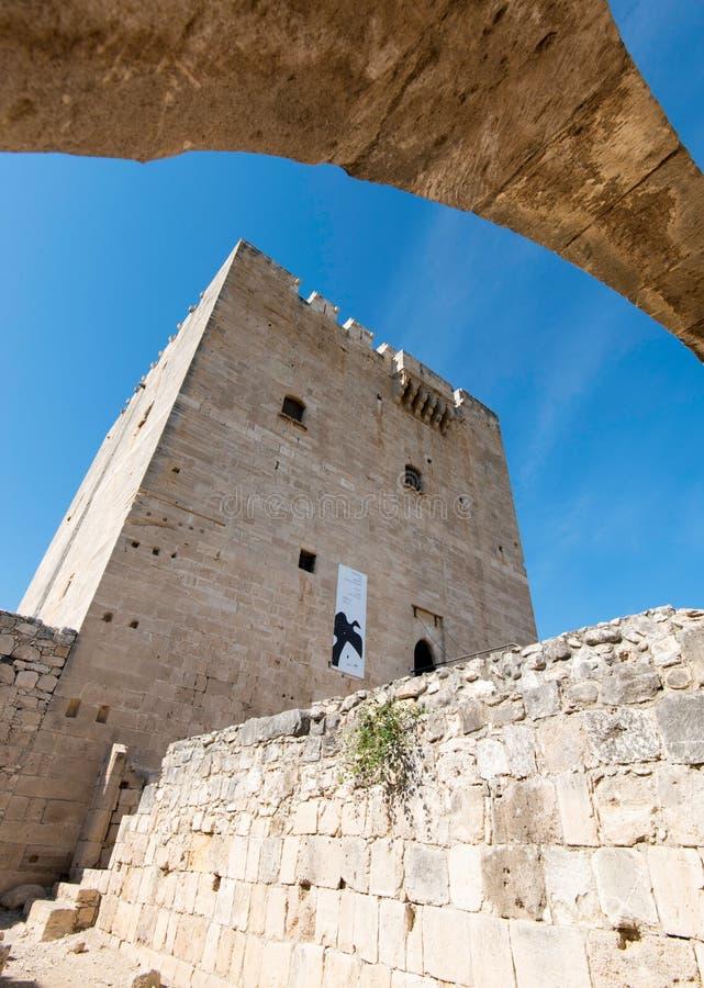 Oud historisch kasteel van Kolossi Limassol Cyprus royalty-vrije stock afbeelding
