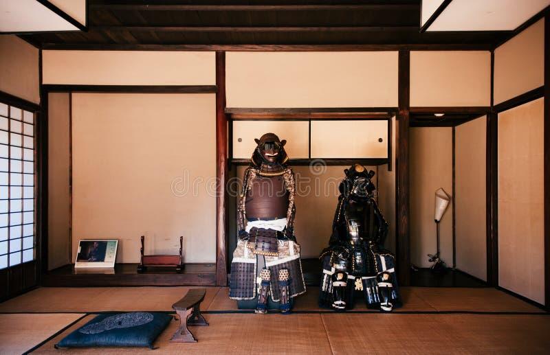 Oud historisch Samoeraienpantser in Sakura-stad, Chiba, Japan stock foto's