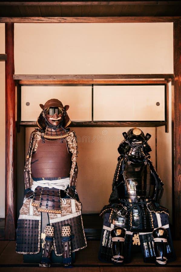 Oud historisch Samoeraienpantser in Sakura-stad, Chiba, Japan royalty-vrije stock foto's
