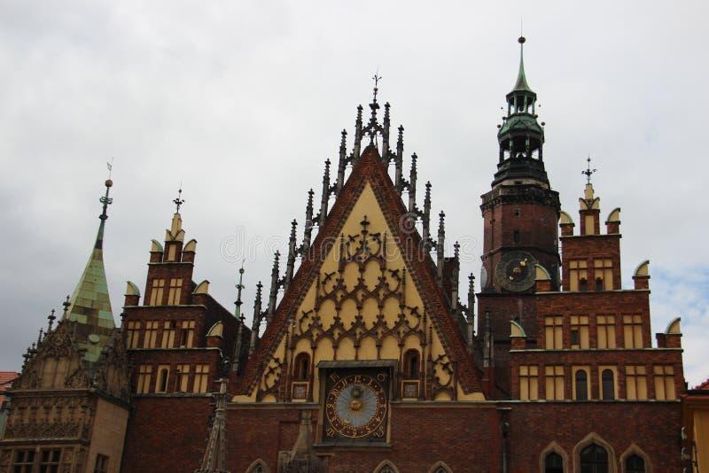 Oud historisch stadhuis Wroclaw Polen stock foto's