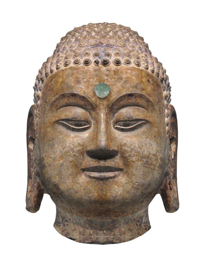 Oud hoofdstandbeeld van geïsoleerde Boedha royalty-vrije stock afbeeldingen