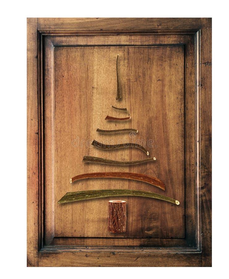Oud hout met Kerstmisboom royalty-vrije stock afbeeldingen