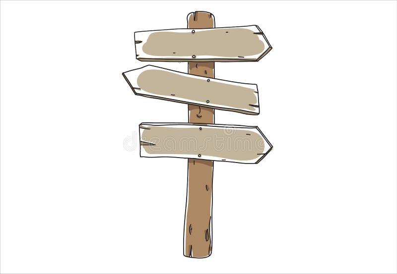 Oud houten bord Door de hand getrokken kunstvectorschatje royalty-vrije illustratie