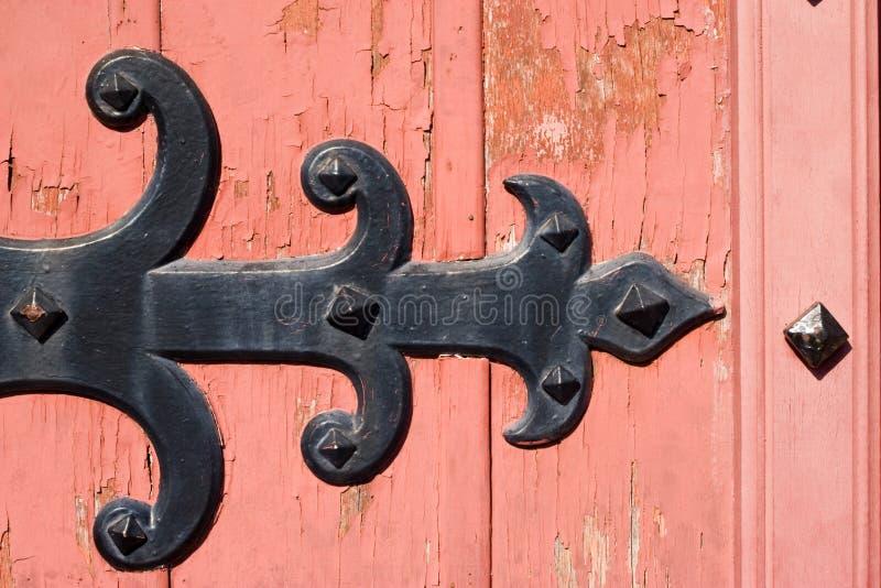 Oud houten deurornament royalty-vrije stock afbeelding