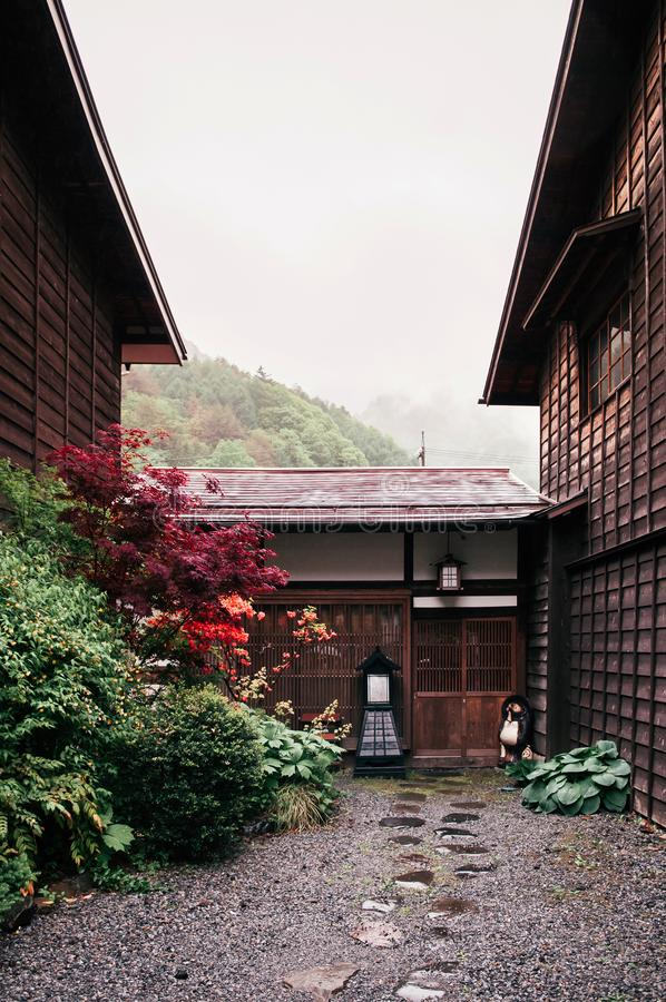 Oud houten Edo-huis van de Poststad van Narai narai-Juku - Nagano, J royalty-vrije stock foto
