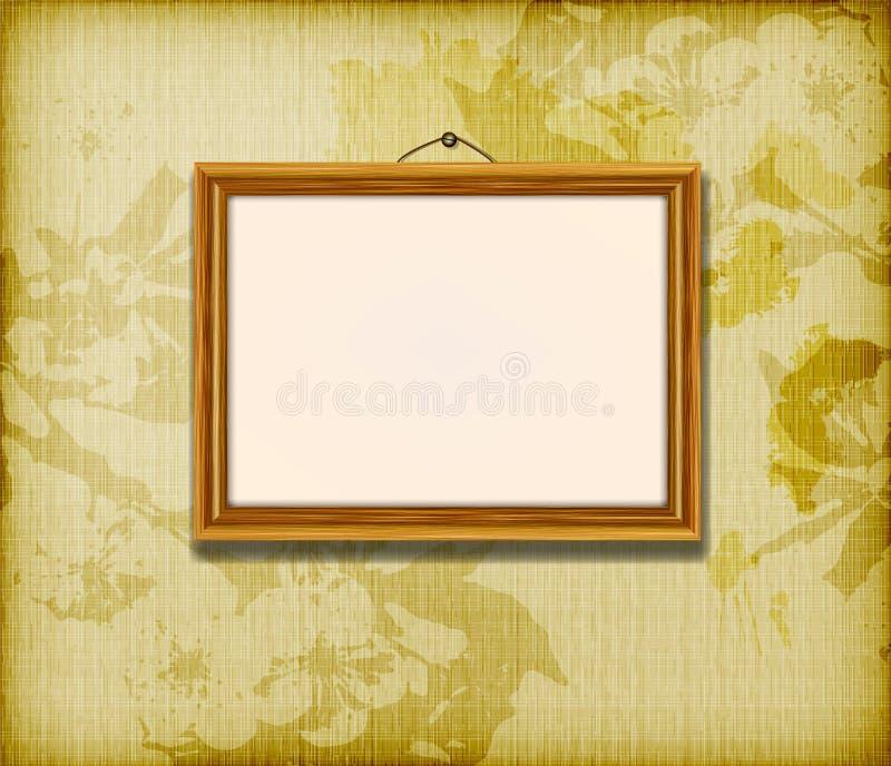 Oud houten frame voor foto stock illustratie